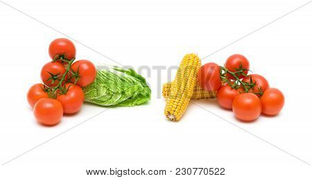 Tomatoes, Corn And Salad On A White Background. Horizontal Photo.