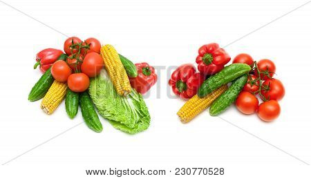 Fresh Vegetables Isolated On White Background. Top View - Horizontal Photo.