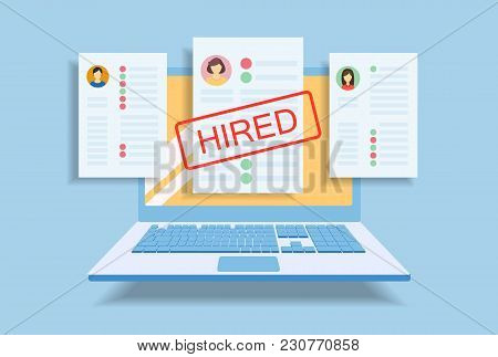 Resume Of Hired Person Among Others On Laptop Screen.