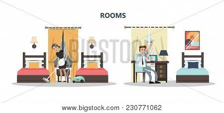 Rooms In Hotel. Maid Cleaning In Hotel Room. Businessman Calling On White.