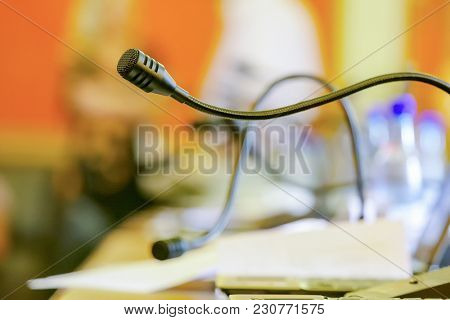 Conference table with microphones