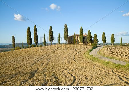 Tuscany, Italy - September 21, 2017: A Traditional Rural Landscape On A Sunny September Day