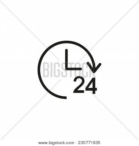 Line Icon Of Clock With Twenty Four Hour Sign. All Day Shop, Twenty Four Hour Service, Twenty Four H