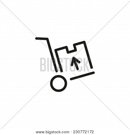 Line Icon Of Wheelbarrow With Box. Package, Parcel, Luggage. Delivery Concept. Can Be Used For Topic