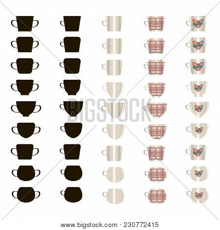45 Vector Ceramic Tea Cups Silhouettes, Light And In A Red Cage Isolated On White Background