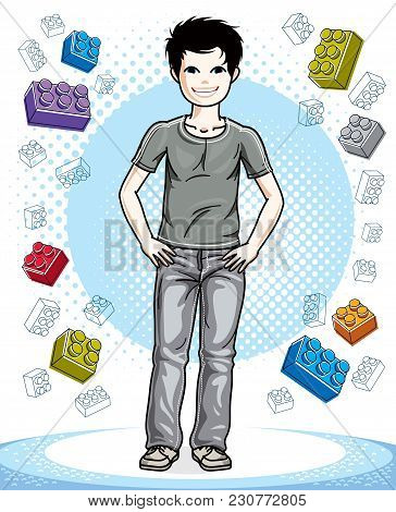 Cute Little Teen Boy Standing In Stylish Casual Clothes. Vector Character. Childhood Lifestyle Clip