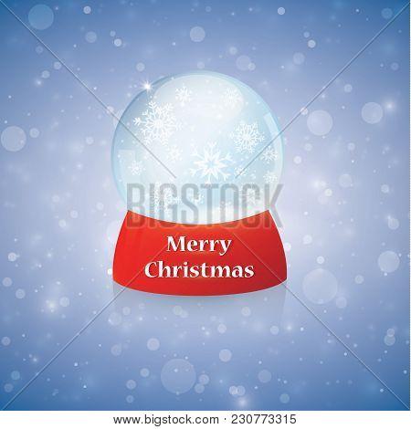 Christmas Snow Globe On Transparent Background. Glass Sphere. Vector Illustration. Eps 10