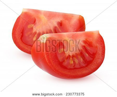 Pieces Of Red Tomatoes Isolated On White Background