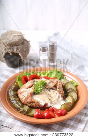 Tasty Meat With Horse-radish Sauce And  Vegetables