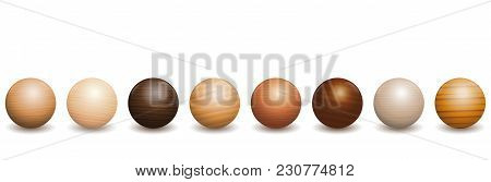 Wooden Balls. Different Species Of Wood Types - Variety Of Eight Polished, Varnished Textured Sample