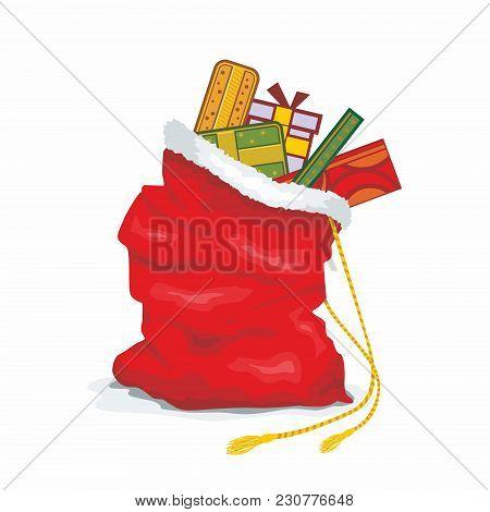 Santa Big Bag. Christmas Sack Red Large. Sackful Gift For Children