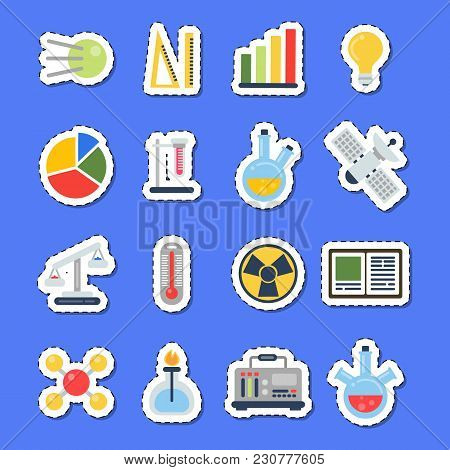 Vector Flat Style Science Icons Stickers With Shadows Set. Science Research Chemistry And Biology, L