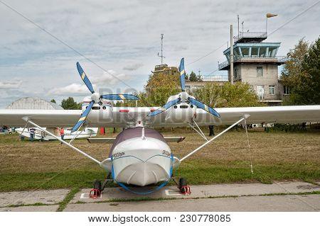 Yalutorovsk, Russia - September 14, 2013: Orion Sk-12 Small Airplane Standing In Sport Aerodrome