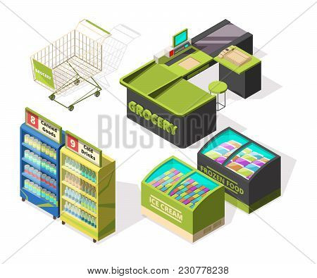 Isometric Constructions For Supermarket Or Warehouse. Shopping Cart, Terminal And Food Counters. Sup