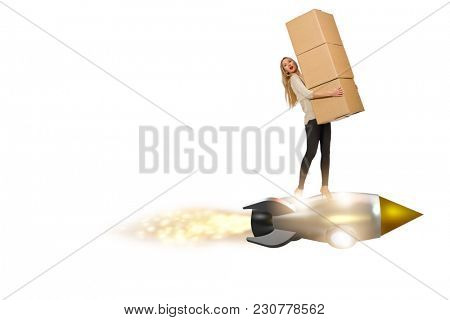 Businesswoman delivering boxes isolated on white background