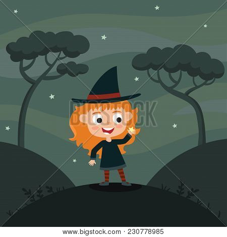 Vector Cute Cartoon Kid In Colorful Halloween Costume: Witch. Halloween Poster With Night Landscape.