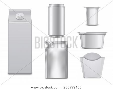 Empty Food Packages. White Boxes And Containers. Vector Package Container, Illustration Of Blank Pac