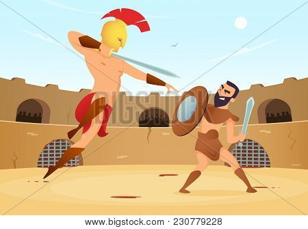Spartan Warriors Fighting In Gladiators Arena. Vector Gladiator With Shield And Roman Man On Arena I