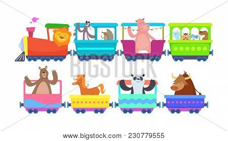 Funny Cartoon Animals Rides In Cartoon Trains. Zoo Animals In Toy Train Traffic, Panda And Bull, Hor