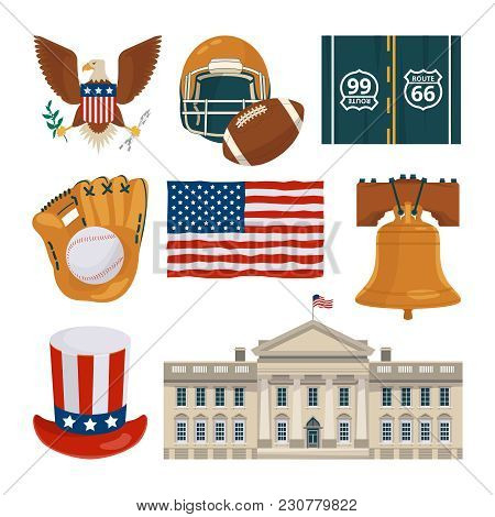 Usa Landmarks And Other Different Cultural Objects. Usa Culture American, Famous Architecture Buildi