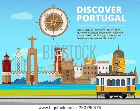 Urban Landscape Of Lisabon Portugal. Culture Objects Set. Vector Portugal Building And Landmark, Tra
