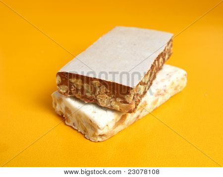 Nougat in two flavors on a yellow background