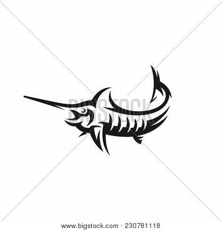 Marlin Fish Vector Logo. Fishing Illustration, Emblem Design On White Background