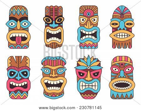 Illustrations Of Hawaiian Tiki God. Tribal Totem Mask, Totem Tribal Colored Face Vector