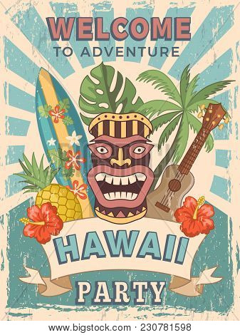 Design Template Of Retro Poster Invitation For Hawaiian Party. Summer Hawaii Tropical Party Banner,