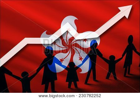 Hong Kong Flag On A Background Of A Growing Arrow Up And People With Children Holding Hands. Demogra