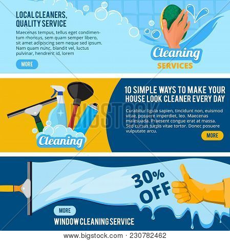 Banners Set With Concept Illustrations Of Cleaning Service Theme. Housework Cleaner Service, Sponge