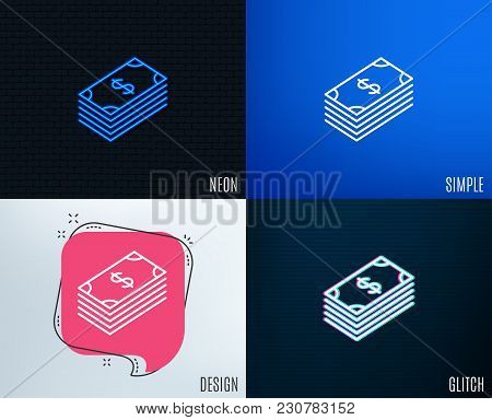Glitch, Neon Effect. Cash Money Line Icon. Banking Currency Sign. Dollar Or Usd Symbol. Trendy Flat