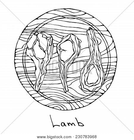 Crude Lamb Ribs Chopped On A Round Wooden Cutting Board. . Meat Cuts Guide For Butcher Shop Or Steak