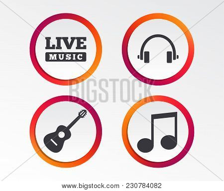 Musical Elements Icons. Musical Note Key And Live Music Symbols. Headphones And Acoustic Guitar Sign