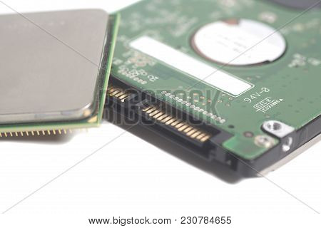 Central Processing Unit Cpu Microchip End Computer Hard Disk Drive Hdd For Notebook Isolated On Whit