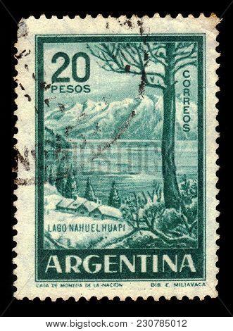 Argentina - Circa 1960: A Stamp Printed In The Argentina Shows Nahuel Huapi Lake, Northern Patagonia