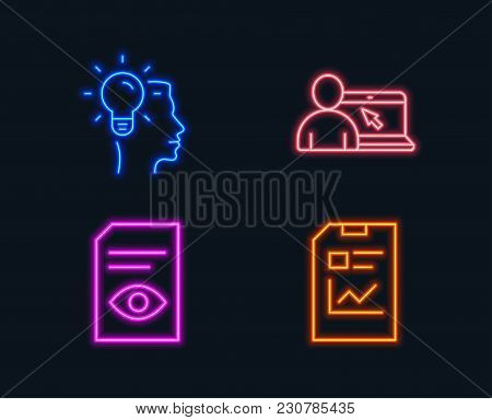 Neon Lights. Set Of Idea, View Document And Online Education Icons. Report Document Sign. Profession
