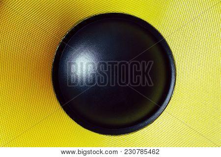 Subwoofer Dynamic Membrane Or Sound Speaker, Hi-fi Loudspeaker Close Up Macro Shot
