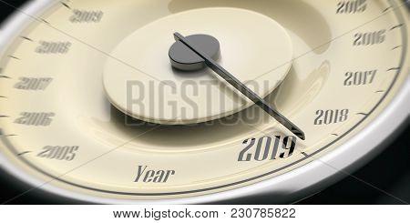 2019 New Year. Vintage Car Speedometer Gauge Closeup Detail On Black Background. 3D Illustration