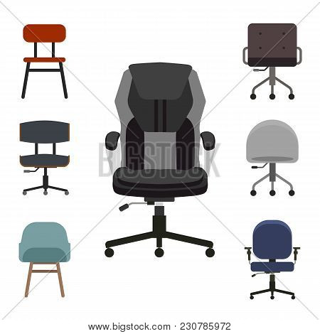 Set Of Office Chairs Flat Vector Illustration. Group Of Armchair Front View. Concept For The Office,