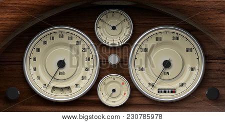 Vintage Car Wooden Dashboard With Retro Gauges. 3D Illustration