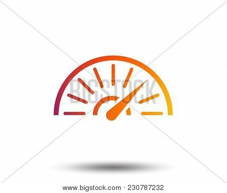 Tachometer Sign Icon. Revolution-counter Symbol. Car Speedometer Performance. Blurred Gradient Desig