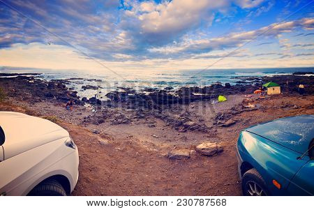 Seascape Scenery And Car.travel Adventures.sunset And Scenic Water Landscape.