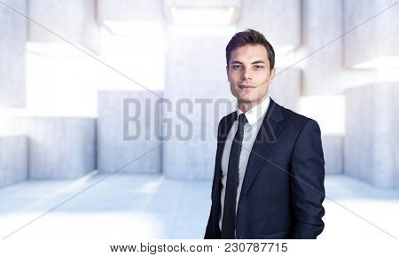 businessman portrait and abstract modern structure texture concrete