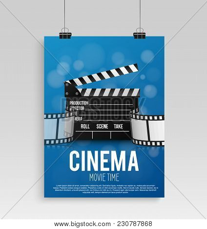 Realistic Blue Cinema Poster In A Frame With A Picture Hanging On A Textured Gray Brick Wall, A Temp