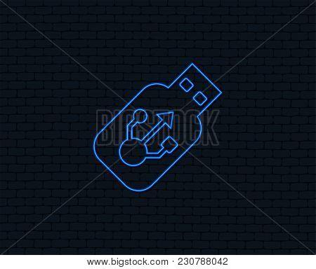 Neon Light. Usb Sign Icon. Usb Flash Drive Stick Symbol. Glowing Graphic Design. Brick Wall. Vector