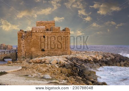 Medieval Paphos Castle ( Fort ) In The Harbor At Sunset. Location Of September Festival. Cyprus. Tou