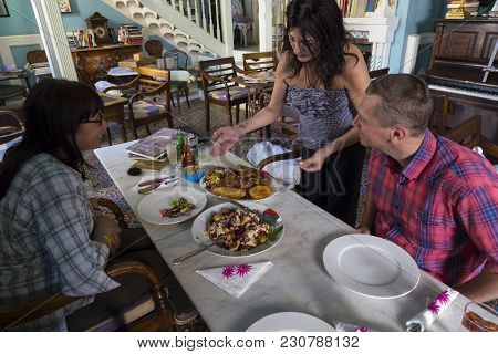 Pano Lefkara, Cyprus - Mountain World Famous Village. 25.05.2016. Old Cafe Tasties Inside Interior.