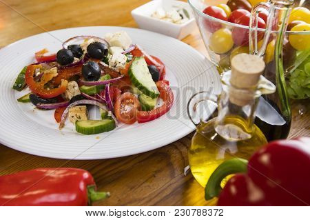 Fresh Vegetables Salat In The White Plate