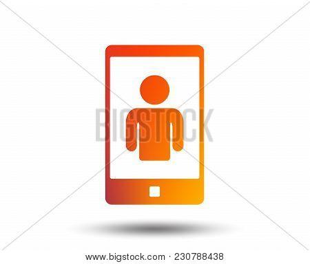 Video Call Sign Icon. Smartphone Symbol. Blurred Gradient Design Element. Vivid Graphic Flat Icon. V